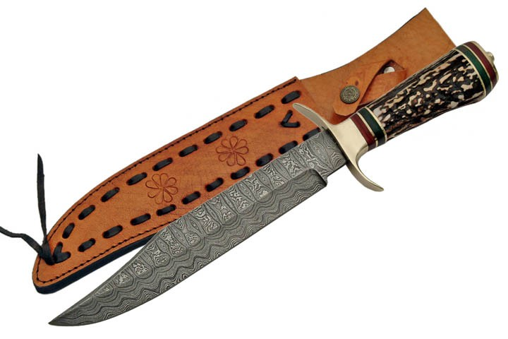 "13 7/8"" Damascus Steel Blade, Stag Horn Handle Bowie Knife W/ Sheath"