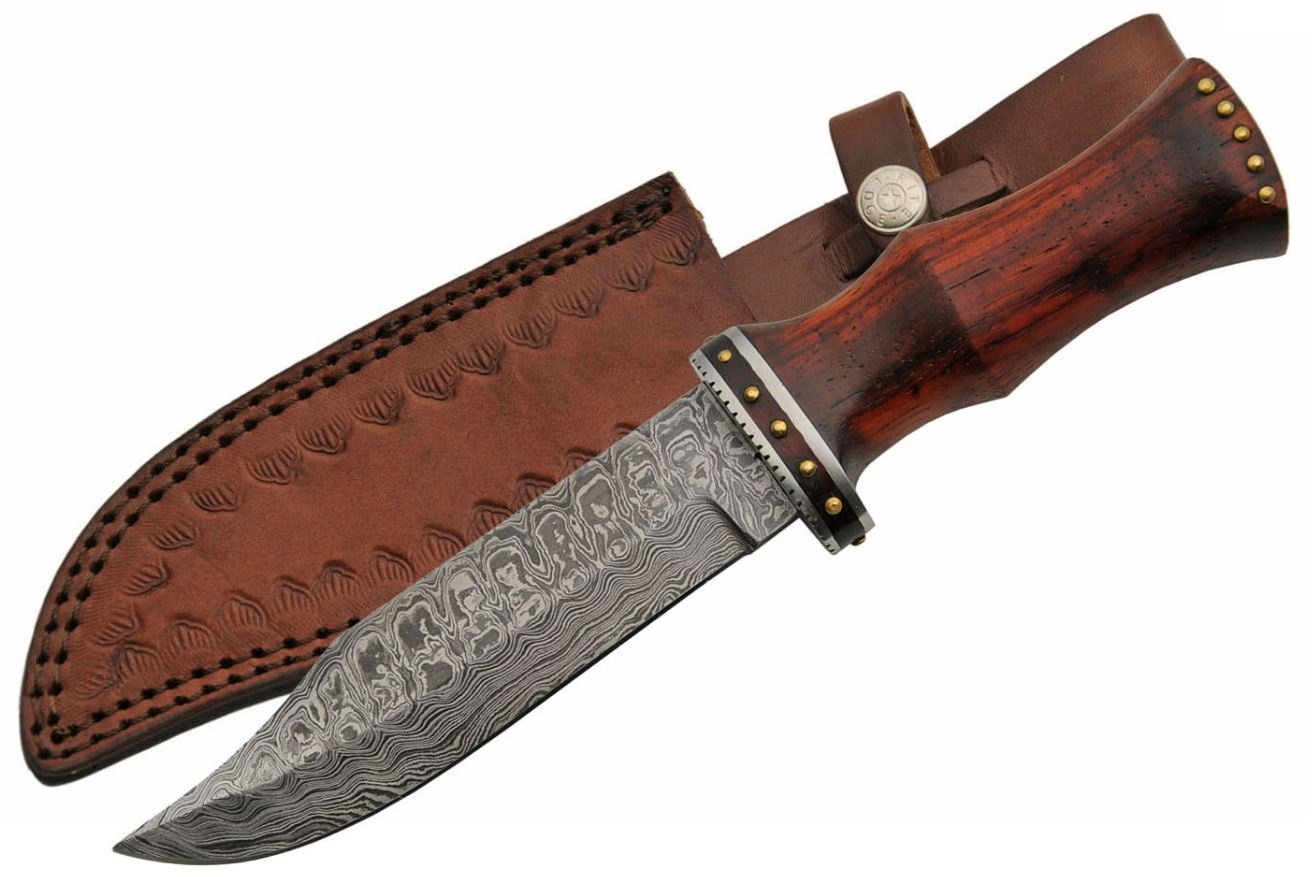 "Damascus Steel Hunting Knife | 11"" Overall Rosewood Handle + Leather Sheath"