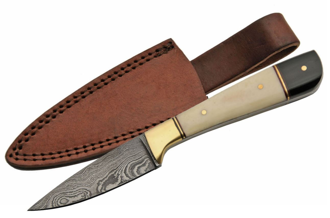 "Damascus Steel Skinning Knife 7"" Overall Stag Black Horn Handle + Leather Sheath"