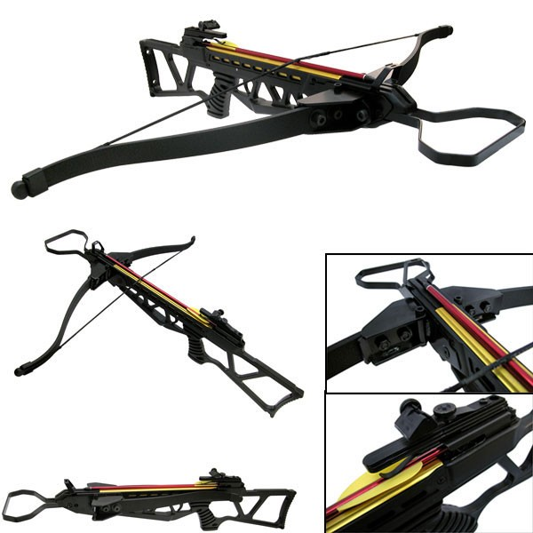 Rifle Crossbow | 120 Lb. Draw Weight Black Foldable Compact Hunter + 2 Bolts