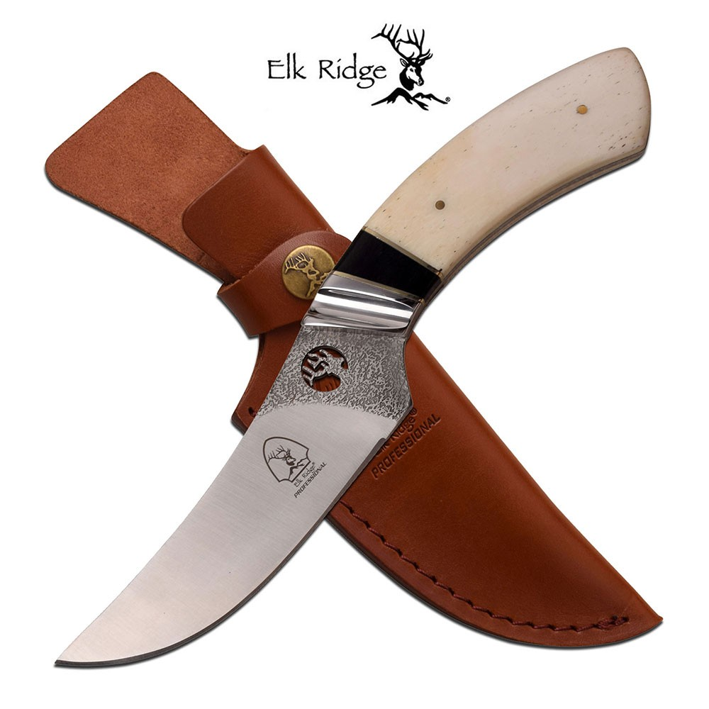 "Fixed-Blade Hunting Knife Elk Ridge 9.75"" Real White Bone Handle Skinner"