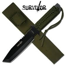 "11.5"" Tanto Survivor Knife w/ Army Green Sheath"