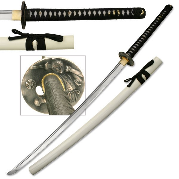 "43"" White Black Hand Forged Samurai Katana Sword With Display Stand Anime"