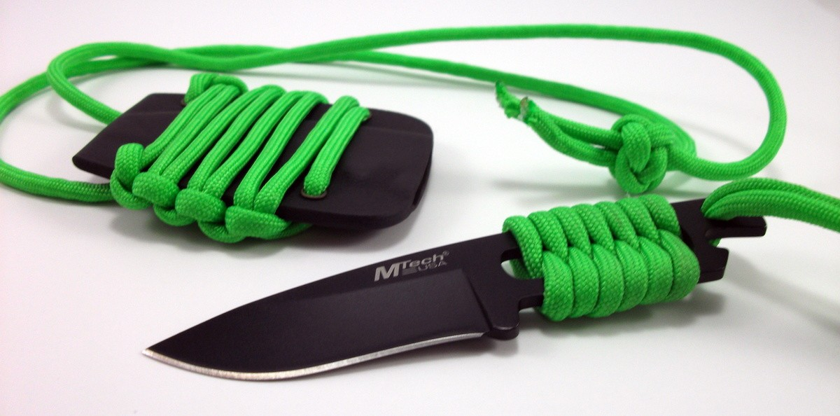 Handwrapped Zombie Green Paracord Mtech Neck Knife Survival Everyday Carry