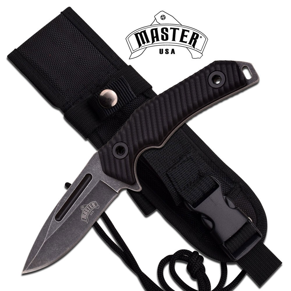 "Fixed Blade Knife Master Usa 8.25"" Black Combat Tactical Hunting Blade Mu-1131"