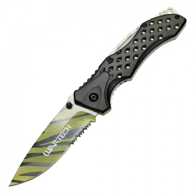 "Spring-Assisted Folding Knife Wartech 3.75"" Serrated Tiger Stripe Black Yellow"