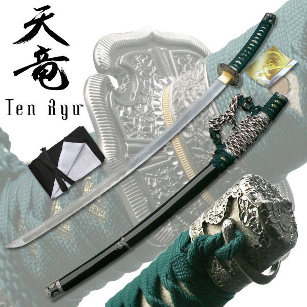 "40"" Hand Forged Damascus Carbon Steel Japanese Green Katana Sword"