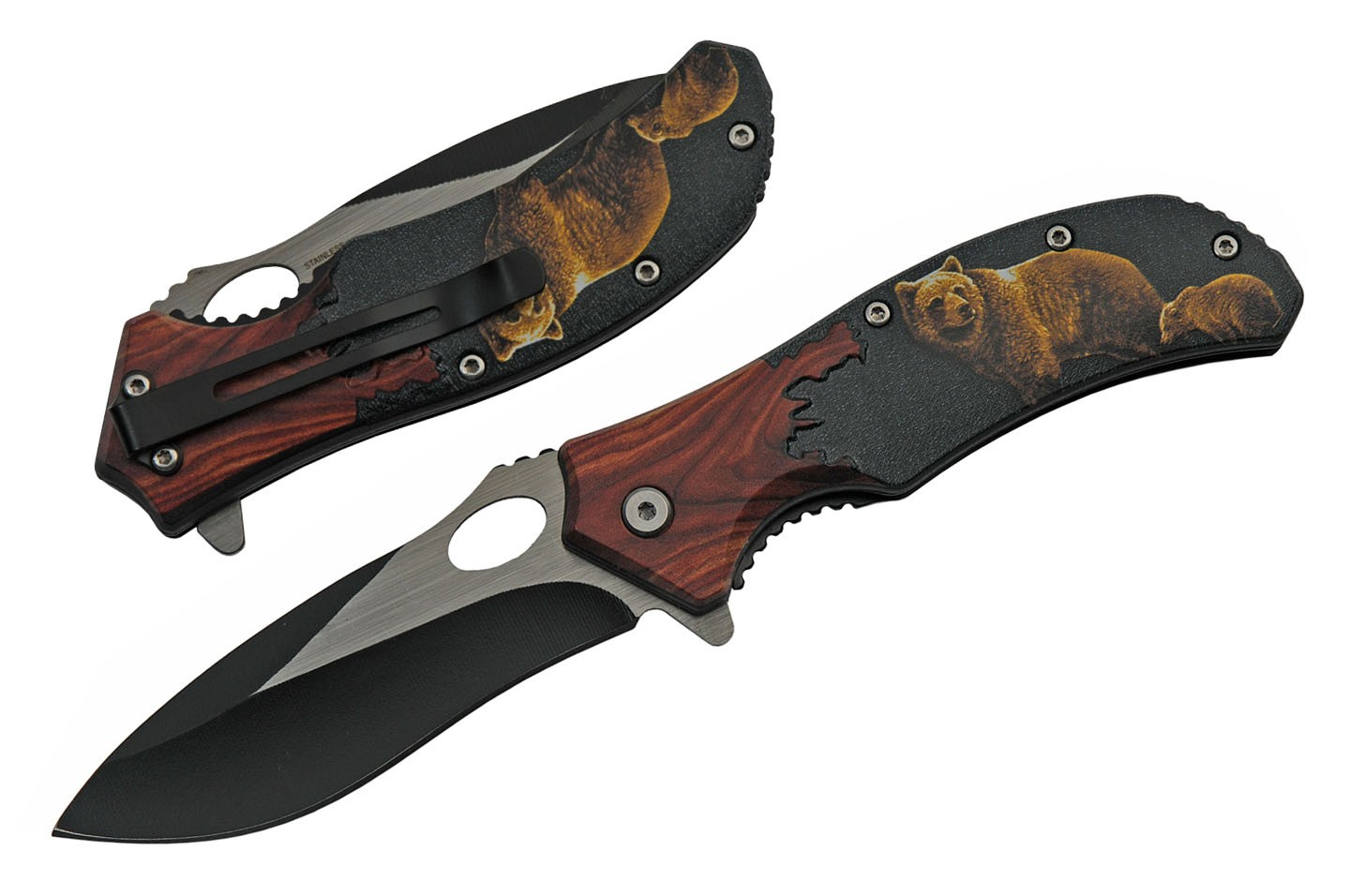 "Spring-Assist Folding Knife | 3.5"" Black Blade Wood Handle Bear With Cub"