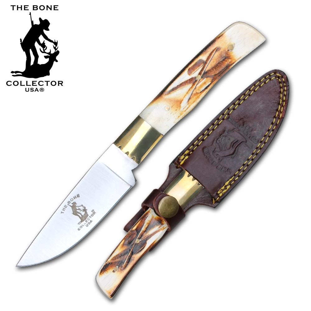 "Hunting Knife | Bone Collector 3.5"" Skinning Blade Full Tang + Leather Sheath"