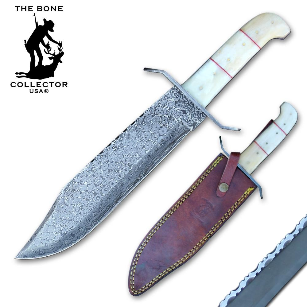 Bowie Knife | Bone Collector Bone Handle Damascus Steel Blade Full Tang + Sheath