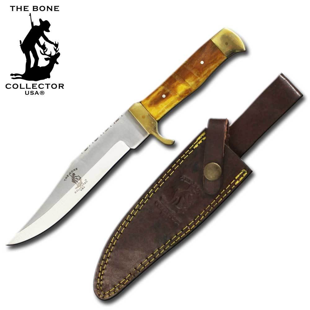 "Hunting Knife 10.25"" Overall Brown Yellow Bone Handle Full Tang + Leather Sheath"