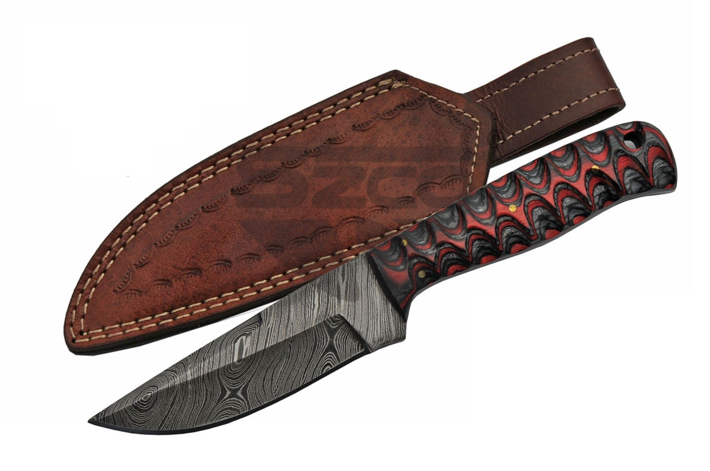 "Fixed Blade Hunting Knife | Damascus Steel 8"" Overall Black Red Wood W/ Sheath"