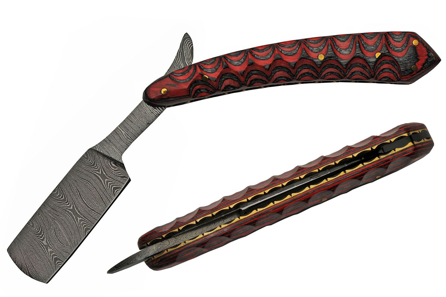 "Straight Razor | Gentleman Classic 6"" Damascus Steel Blade Black/Red Wood Handle"