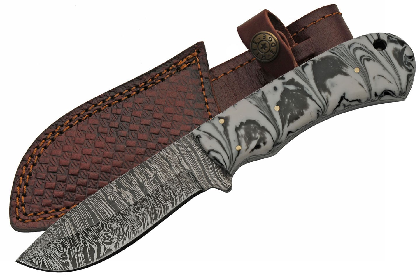 "Hunting Knife | 8"" Overall Full Tang Damascus Steel Blade Marble Handle + Sheath"