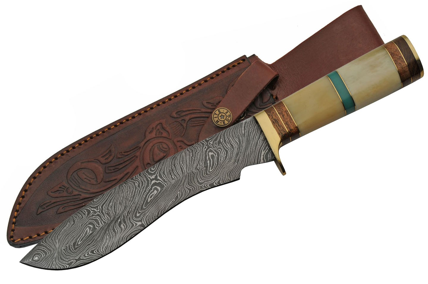 "Bowie Knife | 13"" Overall Damascus Steel Blade Bone/Turquoise Handle + Sheath"