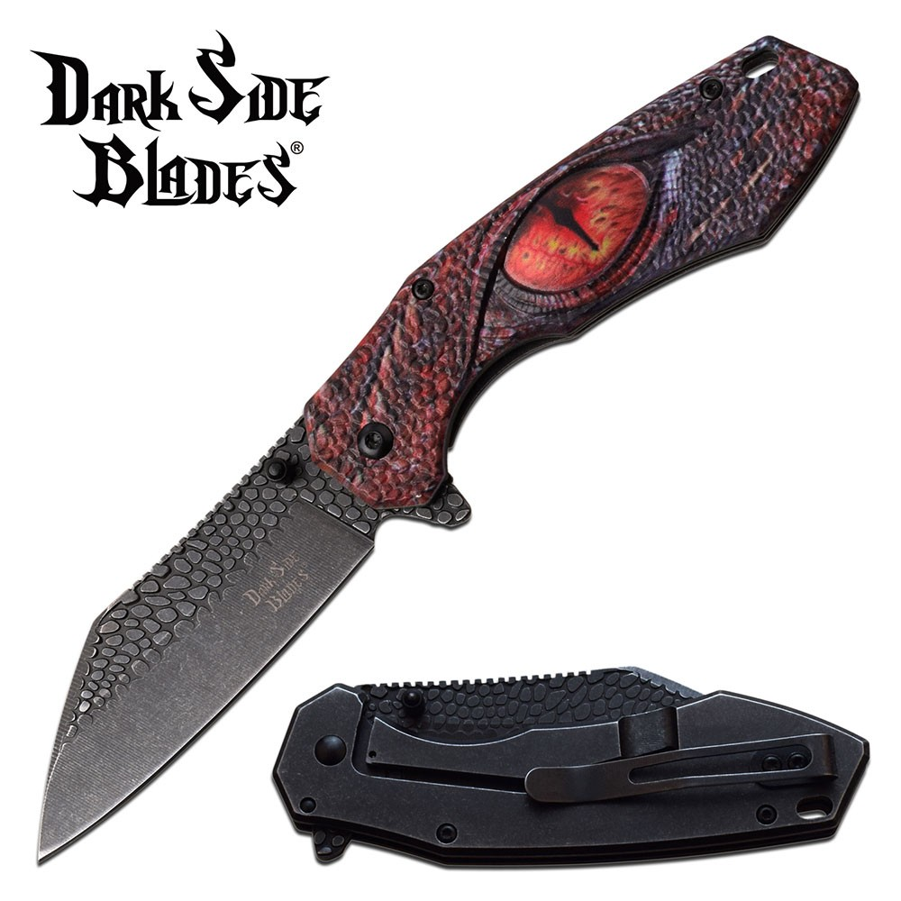 Spring-Assist Folding Pocket Knife | Dragon Eye Red Stone Scale Blade Ds-A080Rd