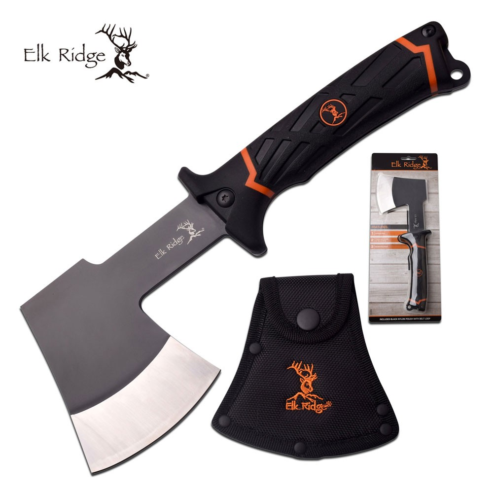 "Hatchet Elk Ridge Black 11"" Overall Utility Camping Hand Axe Full Tang + Sheath"