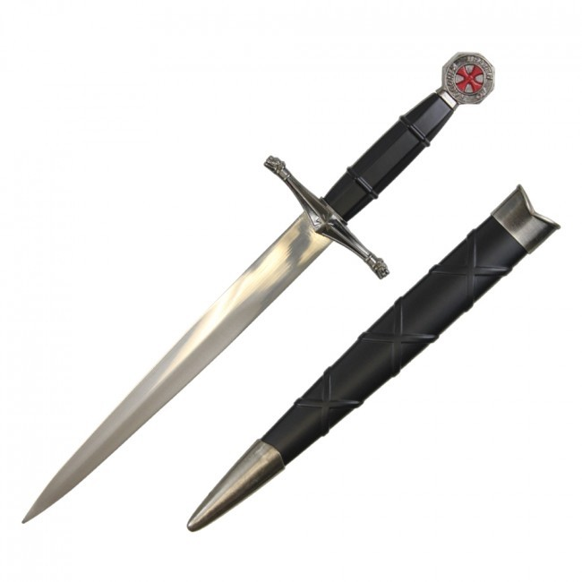 "Medieval Dagger | 15.75"" Overall Templar Knight Knife Costume Prop + Scabbard"