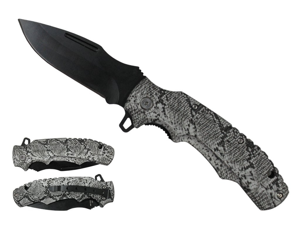 Spring-Assist Folding Knife | Snakesnkin Handle Black Stainless Steel Blade Edc