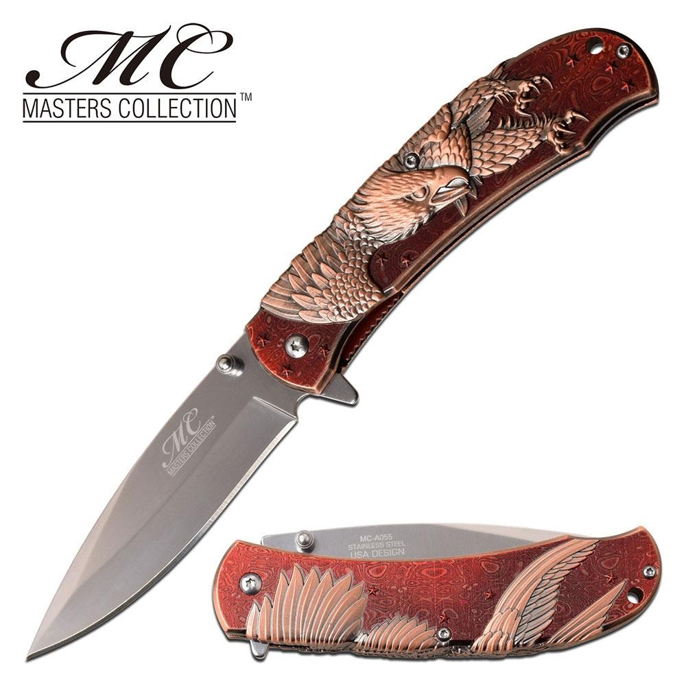 "Spring-Assist Folding Knife 3.75"" Mirror Blade American Bald Eagle Red Copper"