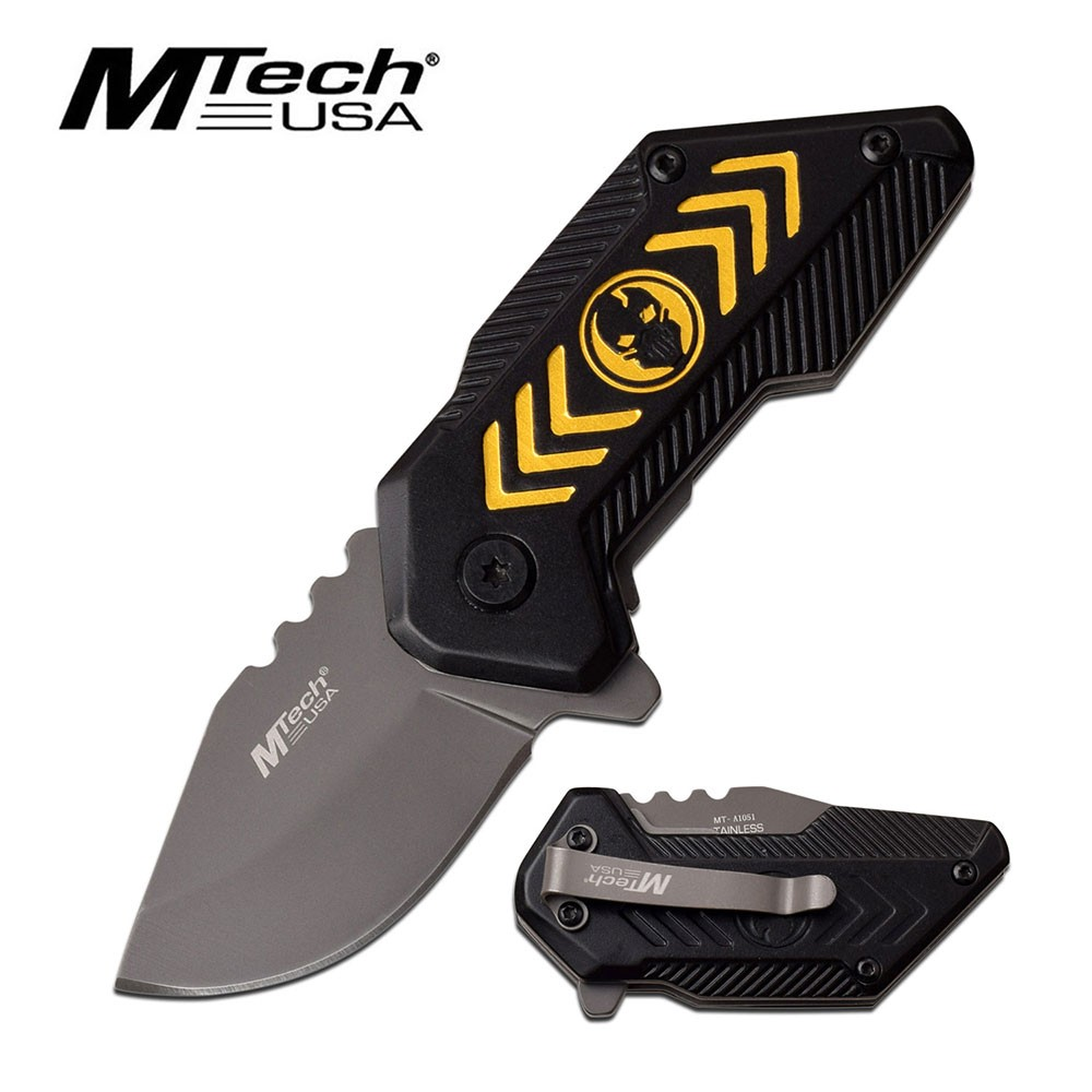 "Spring-Assist Folding Knife | Mtech Compact 1.75"" Blade Black Yellow Skull Edc"