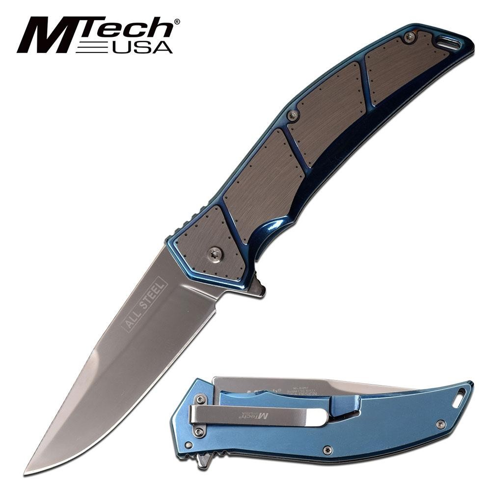 "Spring-Assist Folding Knife Mtech All Steel 3.75"" Blade Tactical Plate - Blue"