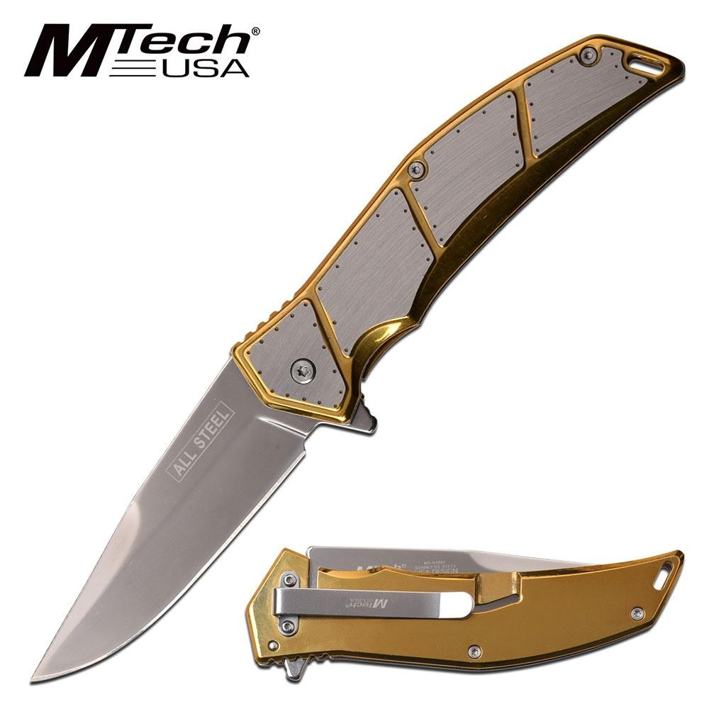 "Spring-Assist Folding Knife Mtech All Steel 3.75"" Blade Tactical Plate - Gold"