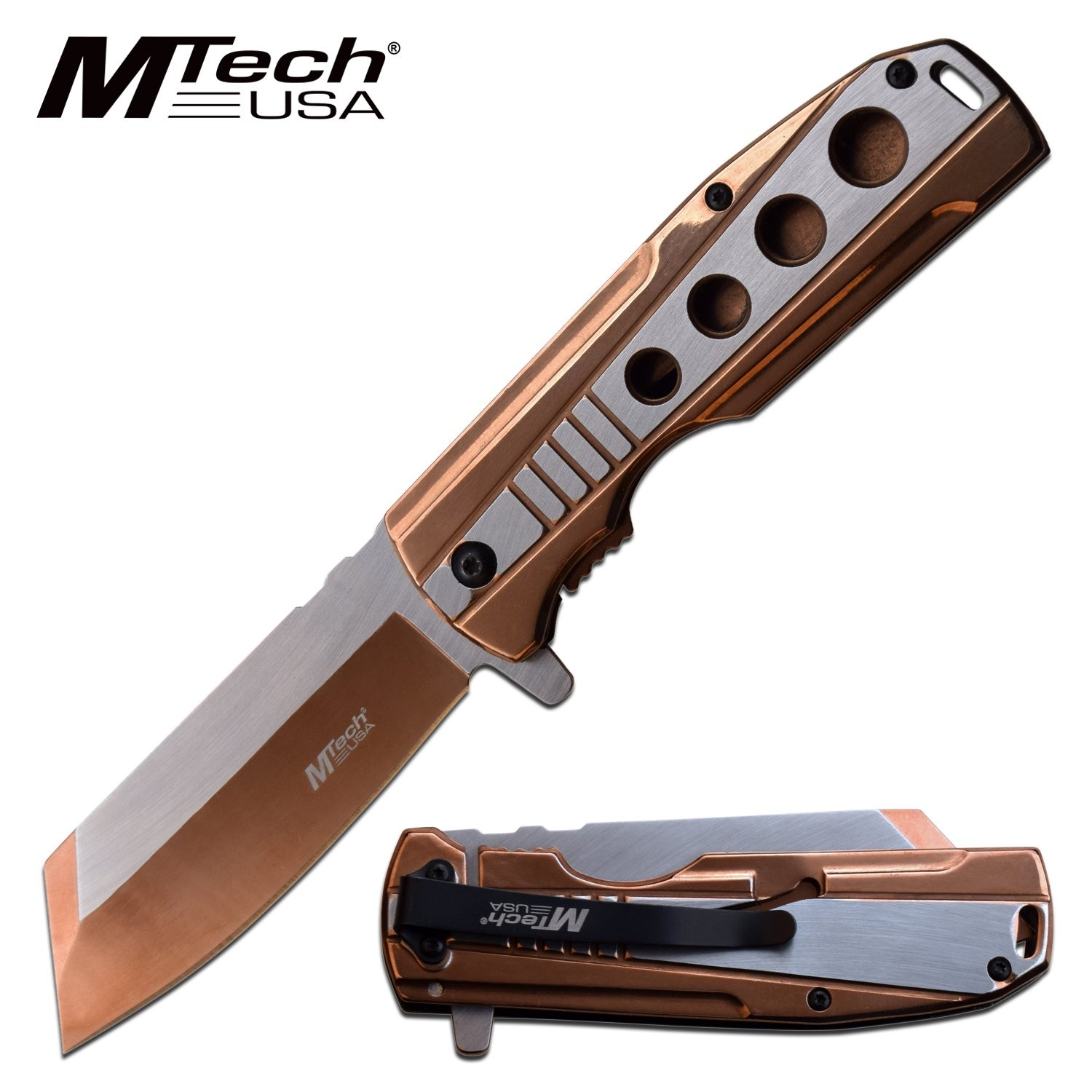 "Spring-Assist Folding Knife Mtech Stainless Steel Copper 3.75"" Blade Tactical"