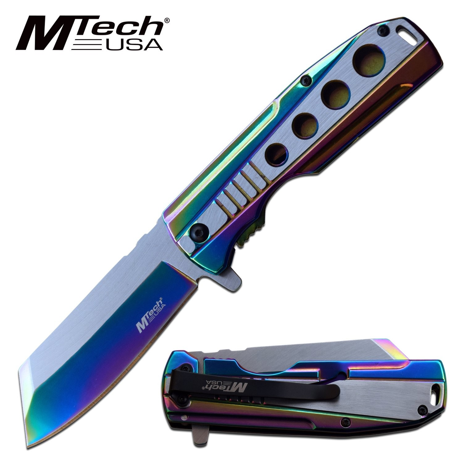 "Spring-Assist Folding Knife Mtech Stainless Steel Rainbow 3.75"" Blade Tactical"