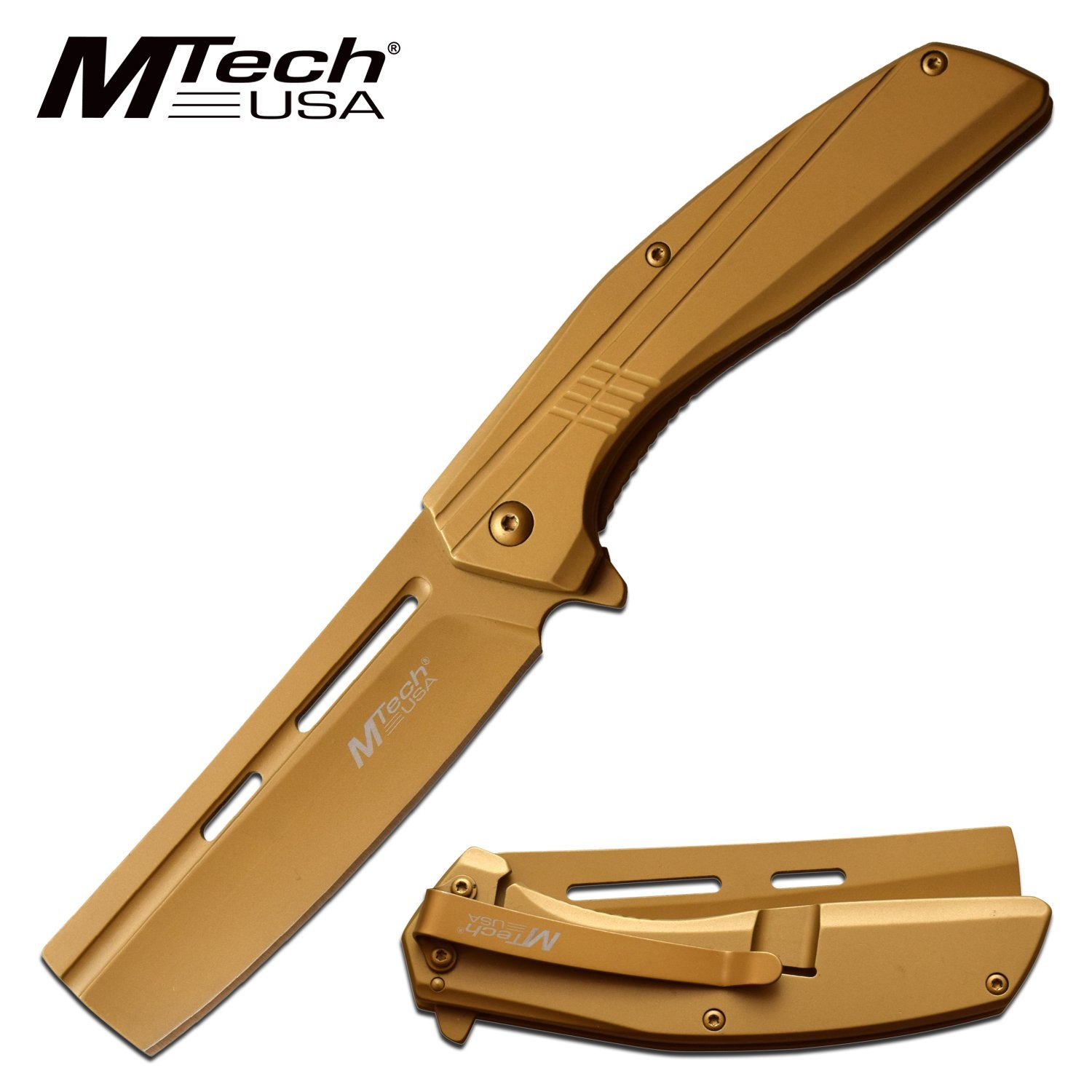 "Spring-Assist Folding Knife | Mtech 3.5"" Cleaver Blade Stainless Steel - Gold"