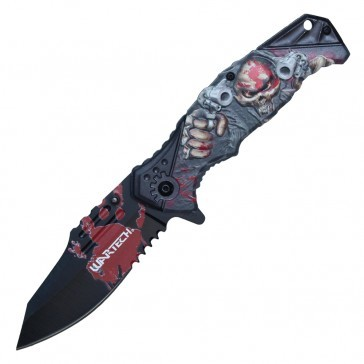 "Spring-Assisted Folding Knife | Wartech Stone Gray 3.25"" Blade Tactical Red"