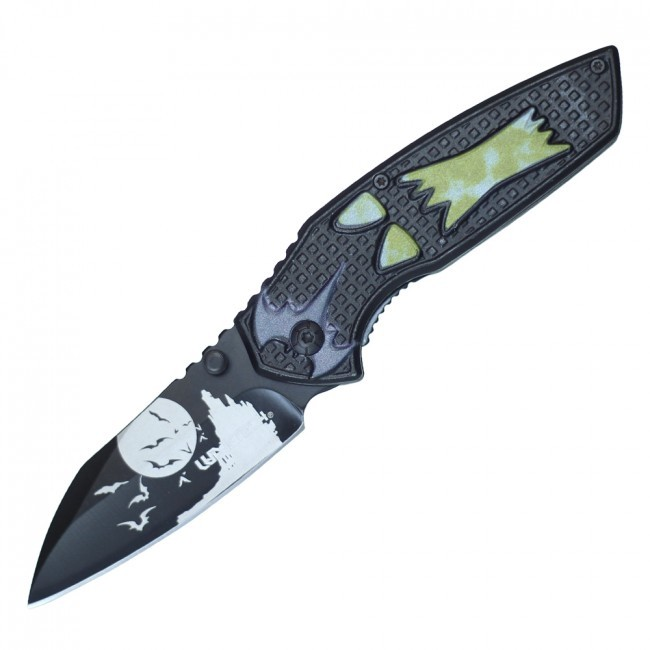 "Spring-Assist Folding Knife | Halloween Howling Wolf 3.25"" Blade Black Yellow"