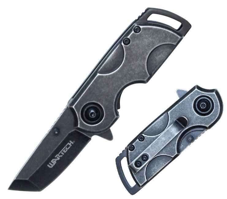 "Spring-Assist Folding Knife | Wartech Mini 2"" Tanto Blade Tactical EDC - Stone"