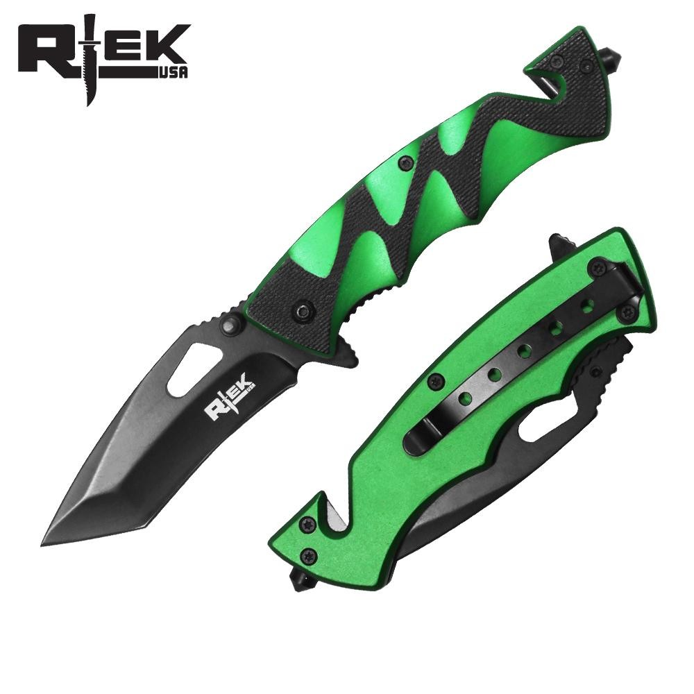 "Spring-Assist Folding Knife | Black Tanto 3.5"" Blade Rescue Tactical Edc - Green"