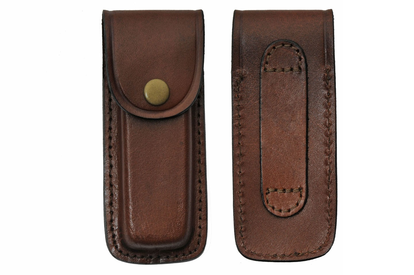 "Folding Knife Sheath | Brown Real Leather Snap-Button Case for 5"" Folding Knives"