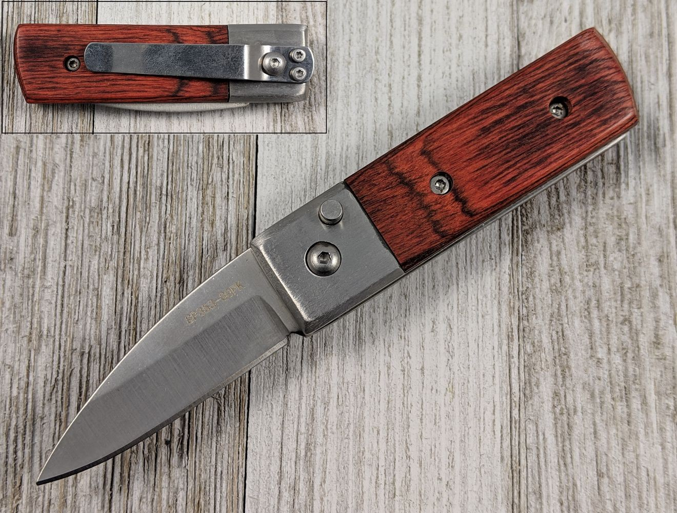 "Switchblade Automatic Folding Knife | Brown Wood Handle 1.75"" Stainless Blade"
