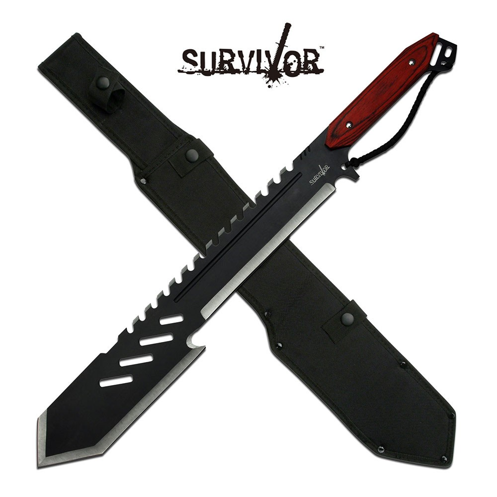 "Machete | Survivor 25.5"" Overall Rear Serrated Gut Hook Tactical Blade + Sheath"