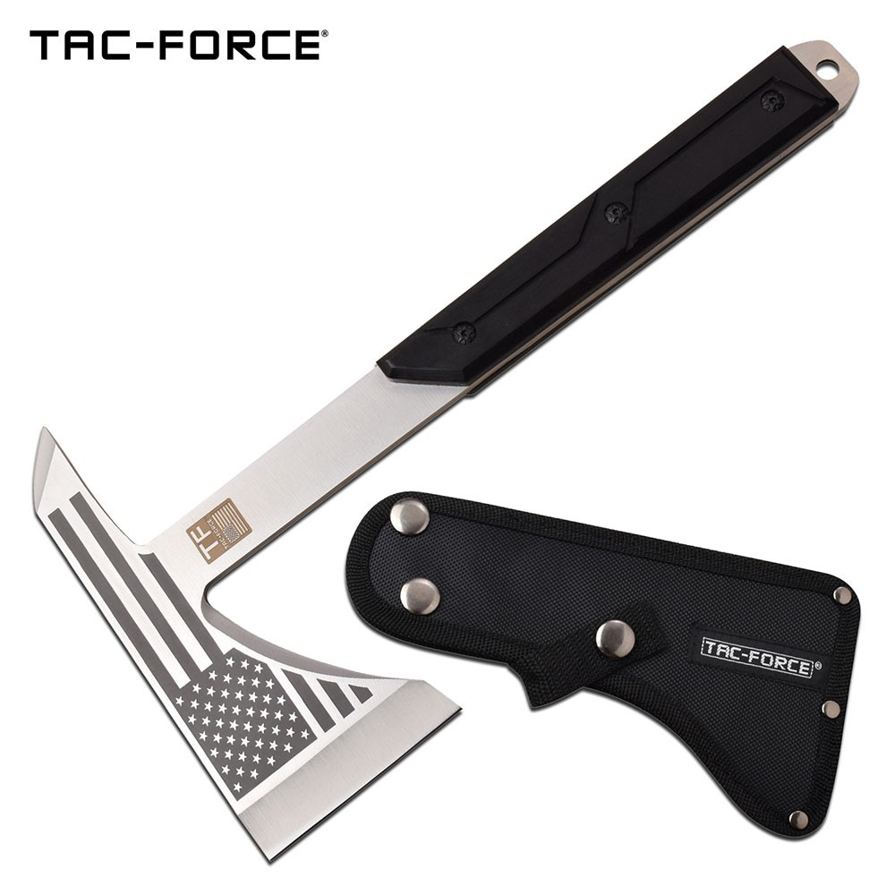 Tactical Ax | Tac-Force American Flag Military Combat Hatchet Tomahawk - Silver